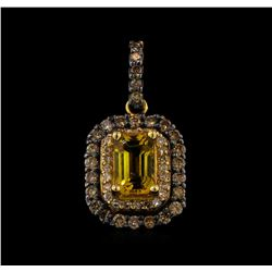 0.66 ctw Citrine and Diamond Pendant - 14KT Rose Gold