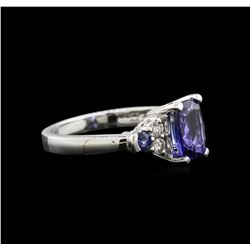 1.78 ctw Tanzanite, Blue Sapphire and Diamond Ring - 14KT White Gold