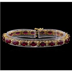 19.68 ctw Ruby and Diamond Bracelet - 14KT Yellow Gold
