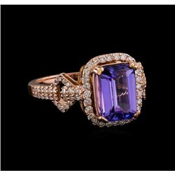 3.20 ctw Tanzanite and Diamond Ring - 14KT Rose Gold