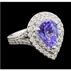 2.70 ctw Tanzanite and Diamond Ring - 14KT White Gold