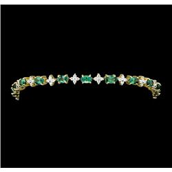 5.43 ctw Alexandrite And Diamond Bracelet - 14KT Yellow Gold