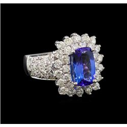 14KT White Gold 3.06 ctw Tanzanite and Diamond Ring