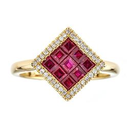 1.28 ctw Ruby and Diamond Ring - 18KT Yellow Gold