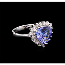 3.72 ctw Tanzanite and Diamond Ring - 14KT White Gold