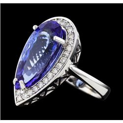 9.18 ctw Tanzanite and Diamond Ring - 14KT White Gold