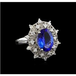3.97 ctw Tanzanite and Diamond Ring - 14KT White Gold