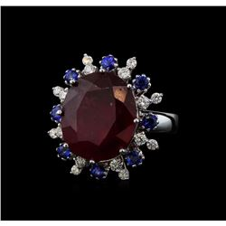 14KT White Gold 16.30 ctw Ruby, Sapphire and Diamond Ring