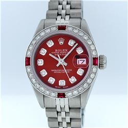 Rolex Stainless Steel Red Diamond DateJust Ladies Watch