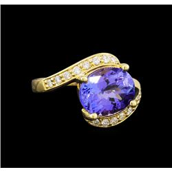 14KT Yellow Gold 4.49 ctw Tanzanite and Diamond Ring