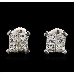 1.64 ctw Diamond Earrings - 14KT White Gold