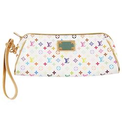 Louis Vuitton White Leather Multi-Color Monogram Zippered Clutch