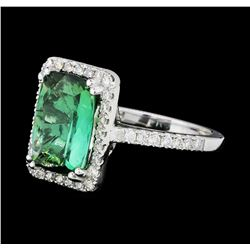 4.30 ctw Green Tourmaline And Diamond Ring - 14KT White Gold
