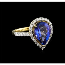 14KT Yellow Gold 2.80 ctw Tanzanite and Diamond Ring