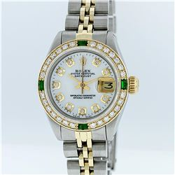 Rolex Two-Tone Mother Of Pearl Diamond and Emerald DateJust Ladies Watch