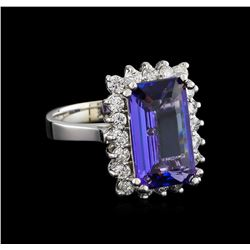 5.16 ctw Tanzanite and Diamond Ring - 14KT White Gold