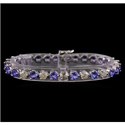 14KT White Gold 12.69 ctw Tanzanite and Diamond Bracelet