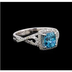 2.31 ctw Blue Zircon and Diamond Ring - 14KT White Gold