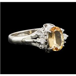 1.17 ctw Imperial Topaz and Diamond Ring - Platinum