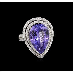 8.82 ctw Tanzanite and Diamond Ring - 14KT White Gold