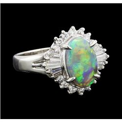 1 ctw Black Opal and Diamond Ring - Platinum
