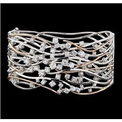 1.45 ctw Diamond Bangle Bracelet - 14KT Rose and White Gold