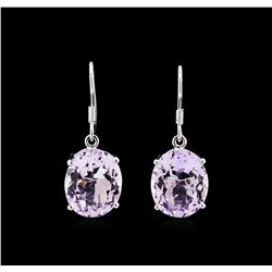 Crayola 15.00 ctw Pink Amethyst Earrings - 14K White Gold