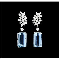 28.27 ctw Aquamarine And Diamond Earrings - 18KT White Gold