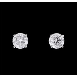 1.21 ctw Diamond Earrings - 14KT White Gold