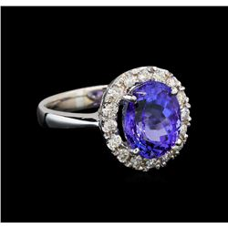 14KT White Gold 4.52 ctw Tanzanite and Diamond Ring