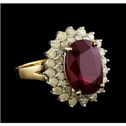 6.85 ctw Ruby and Diamond Ring - 14KT Yellow Gold
