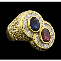 1 ctw Sapphire, Ruby and Diamond Ring - 18KT Yellow Gold