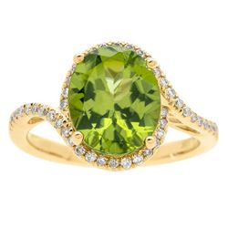 3.61 ctw Peridot and Diamond Ring - 10KT Yellow Gold