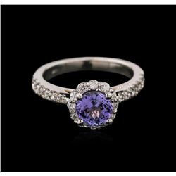 1.13 ctw Tanzanite and Diamond Ring - 14KT White Gold