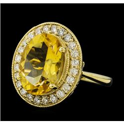 5.41 ctw Citrine Quartz  and Diamond Ring - 14KT Yellow  Gold