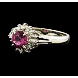 0.74 ctw Ruby and Diamond Ring - Platinum