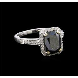 3.47 ctw Black Diamond Ring - 14KT White Gold