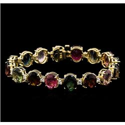 35.00 ctw Multi-Color Tourmaline and Diamond Bracelet - 14KT Yellow Gold