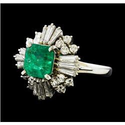 1.64 ctw Emerald and Diamond Ring - Platinum