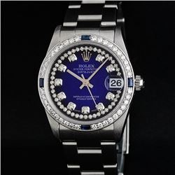 Rolex Stainless Steel VVS Diamond and Sapphire DateJust Midsize Watch