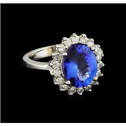 3.54 ctw Tanzanite and Diamond Ring - 14KT White Gold