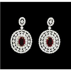 1.59 ctw Ruby and Diamond Earrings - 18KT White Gold