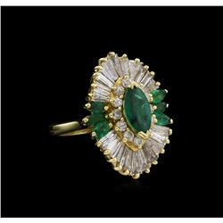 1.31 ctw Emerald and Diamond Ring - 14KT Yellow Gold