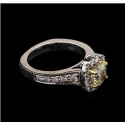 1.71 ctw Light Yellow Diamond Ring - 14KT White Gold