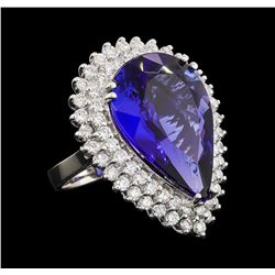 GIA Cert 17.33 ctw Tanzanite and Diamond Ring - 14KT White Gold