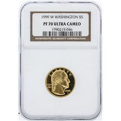 1999-W NGC Graded Ultra Cameo PF70 Washington $5 Commemorative Gold Coin