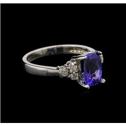 1.74 ctw Tanzanite and Diamond Ring - 14KT White Gold