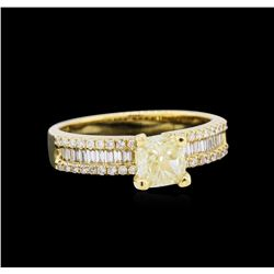 EGL USA Cert 1.39 ctw Fancy Yellow Diamond Ring - 18KT Yellow Gold