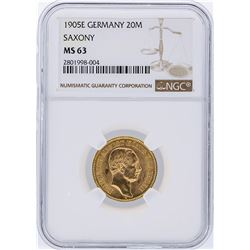 1905E NGC MS63 Germany 20M Saxony Gold Coin
