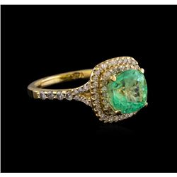 3.01 ctw Emerald and Diamond Ring - 14KT Yellow Gold